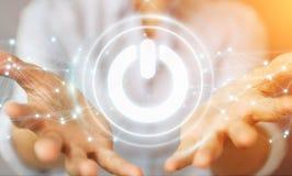 O homem de negócios que usa 3D rende o botão do poder com conexões Foto de Stock