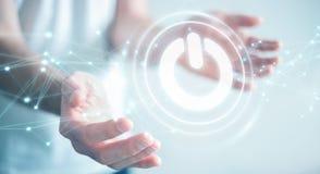 O homem de negócios que usa 3D rende o botão do poder com conexões Fotos de Stock Royalty Free