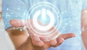 O homem de negócios que usa 3D rende o botão do poder com conexões Imagem de Stock Royalty Free