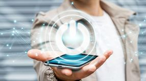 O homem de negócios que usa 3D rende o botão do poder com conexões Imagem de Stock