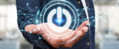 O homem de negócios que usa 3D rende o botão do poder com conexões Imagens de Stock Royalty Free