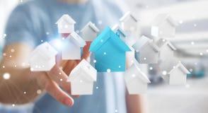 O homem de negócios que usa 3D rendeu casas brancas e azuis pequenas Foto de Stock