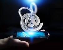 O homem de negócios que usa 3D rendeu o cadeado digital para fixar seu inte Imagem de Stock