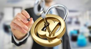O homem de negócios que usa 3D rendeu o cadeado digital para fixar seu inte Imagens de Stock
