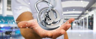 O homem de negócios que usa 3D rendeu o cadeado digital para fixar seu inte Foto de Stock