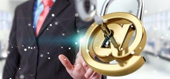 O homem de negócios que usa 3D rendeu o cadeado digital para fixar seu inte Imagem de Stock Royalty Free
