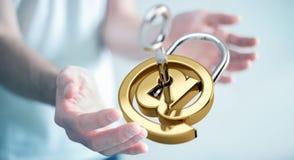 O homem de negócios que usa 3D rendeu o cadeado digital para fixar seu inte Fotos de Stock Royalty Free