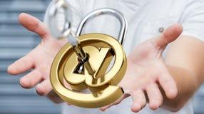O homem de negócios que usa 3D rendeu o cadeado digital para fixar seu inte Foto de Stock Royalty Free