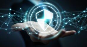 O homem de negócios que usa a proteção segura do protetor com conexões 3D ren Foto de Stock Royalty Free