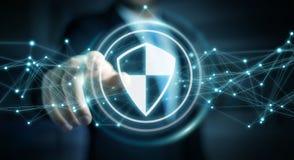 O homem de negócios que usa a proteção segura do protetor com conexões 3D ren Imagem de Stock