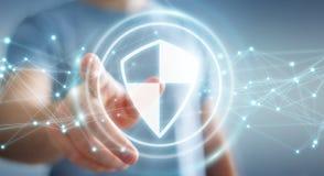 O homem de negócios que usa a proteção segura do protetor com conexões 3D ren Fotografia de Stock