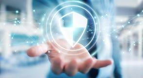 O homem de negócios que usa a proteção segura do protetor com conexões 3D ren Imagem de Stock Royalty Free