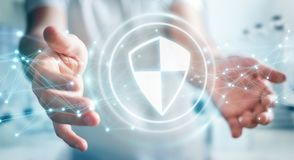 O homem de negócios que usa a proteção segura do protetor com conexões 3D ren Imagens de Stock