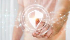 O homem de negócios que usa a proteção segura do protetor com conexões 3D ren Fotos de Stock Royalty Free