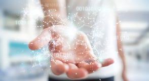 O homem de negócios que usa a rede digital 3D da conexão do código binário arranca Imagens de Stock Royalty Free