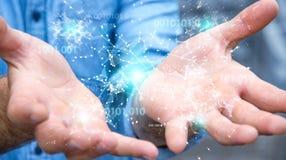 O homem de negócios que usa a rede digital 3D da conexão do código binário arranca Fotos de Stock
