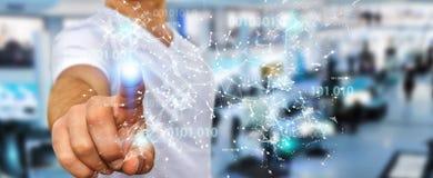 O homem de negócios que usa a rede digital 3D da conexão do código binário arranca Fotos de Stock Royalty Free