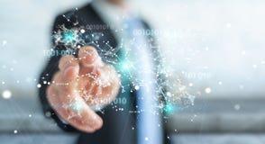 O homem de negócios que usa a rede digital 3D da conexão do código binário arranca Foto de Stock