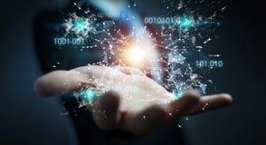 O homem de negócios que usa a rede digital 3D da conexão do código binário arranca Imagem de Stock