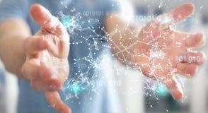 O homem de negócios que usa a rede digital 3D da conexão do código binário arranca Fotografia de Stock Royalty Free