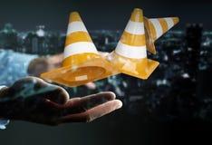 O homem de negócios que usa a rendição 3D digital sob a construção assina Imagens de Stock
