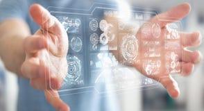 O homem de negócios que usa telas digitais com dados 3D dos holograma rende Foto de Stock Royalty Free