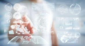 O homem de negócios que usa telas digitais com dados 3D dos holograma rende Fotografia de Stock