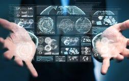 O homem de negócios que usa telas digitais com dados 3D dos holograma rende Fotografia de Stock Royalty Free