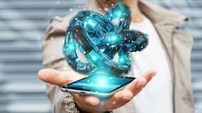 O homem de negócios que usa o toro futurista textured a rendição do objeto 3D Imagens de Stock Royalty Free