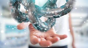 O homem de negócios que usa o toro futurista textured a rendição do objeto 3D Imagem de Stock
