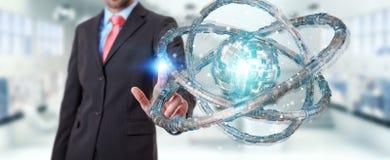 O homem de negócios que usa o toro futurista textured a rendição do objeto 3D Foto de Stock Royalty Free