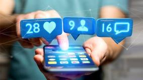 O homem de negócios que usa um smartphone com a gosta, seguidor e messag Foto de Stock