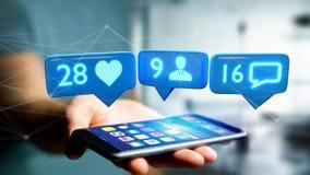 O homem de negócios que usa um smartphone com a gosta, seguidor e messag Fotografia de Stock