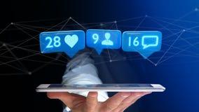O homem de negócios que usa um smartphone com a gosta, seguidor e messag Fotos de Stock