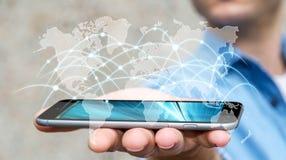 O homem de negócios que usam a rede global e as trocas de dados '3D rendem Foto de Stock Royalty Free