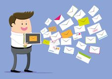 O homem de negócios recebe toneladas de email ilustração stock