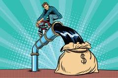 O homem de negócios retro enche o óleo no saco do dinheiro ilustração royalty free