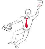 O homem de negócios salta com alegria Imagens de Stock