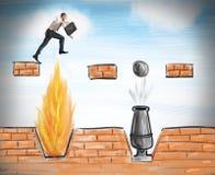 O homem de negócios salta para superar obstáculos Fotografia de Stock Royalty Free
