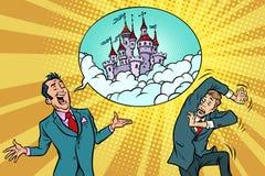 O homem de negócios seguro oferece a um homem o castelo fabuloso no céu ilustração royalty free
