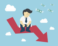 O homem de negócios senta-se no impacto de mercado de valores de ação da seta Fotografia de Stock Royalty Free