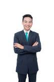O homem de negócios sorri sobre o branco Fotos de Stock Royalty Free