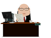 O homem de negócios superior lê um jornal Imagem de Stock Royalty Free