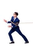 O homem de negócios travou com o laço da corda isolado no branco Fotos de Stock Royalty Free
