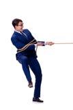 O homem de negócios travou com o laço da corda isolado no branco Fotografia de Stock