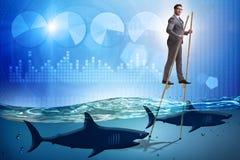 O homem de neg?cios que anda em pernas de pau entre tubar?es fotografia de stock