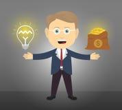 O homem de negócio tem a ideia obter o dinheiro Imagem de Stock Royalty Free