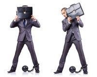 O homem de negócios com os grilhões no branco Fotos de Stock Royalty Free