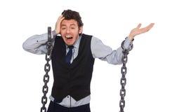 O homem de negócios novo no conceito engraçado no branco Fotografia de Stock