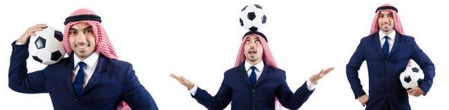 O homem de negócios árabe com futebol Fotografia de Stock Royalty Free